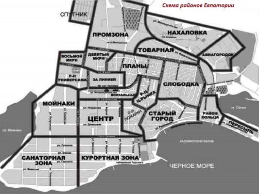 Схема районов Евпатории